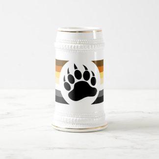 Pata de oso gay de la bandera del orgullo del oso jarra de cerveza