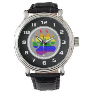 Pata de oso gay del arco iris del orgullo del oso relojes de pulsera