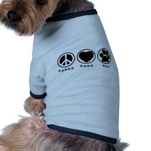 Pata del amor de la paz camisa de mascota