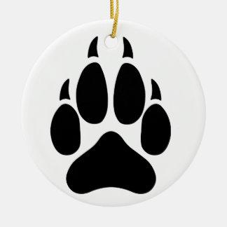 Pata del lobo adorno navideño redondo de cerámica