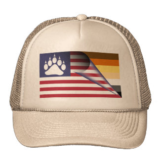 Pata del orgullo del oso de la bandera americana gorras de camionero