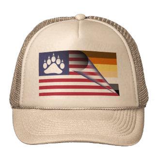 Pata del orgullo del oso de la bandera americana gorros