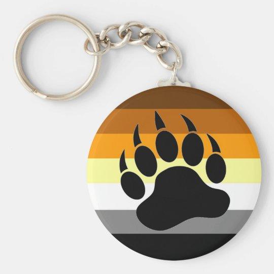 Pata del orgullo del oso llavero redondo tipo pin