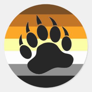 Pata del orgullo del oso etiquetas redondas