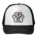 Pata del perro esquimal del amor gorras de camionero