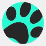pata del perro etiqueta redonda