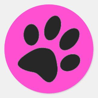 pata del perro pegatina redonda