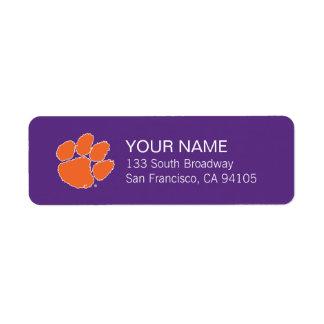 Pata del tigre de la universidad de Clemson Etiquetas De Remite