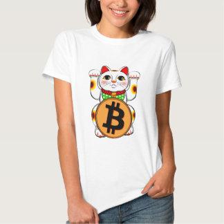 Pata doble de Bitcoin del gato afortunado de Polera