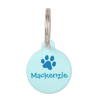 Pata Impresión-Azul Identificador Para Mascota