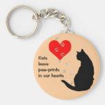 Pata-impresiones de la licencia de los gatos en nu llaveros personalizados