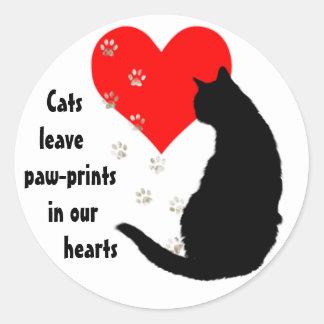 Pata-impresiones de la licencia de los gatos en pegatina redonda