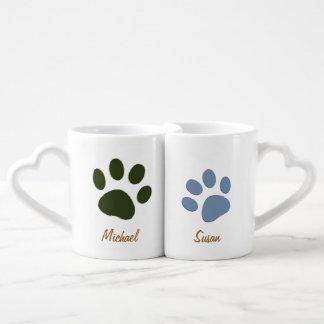 pata masculina del perro y pata femenina del perro set de tazas de café