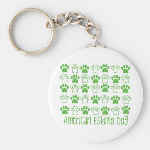 Pata por el perro esquimal americano de la pata llaveros personalizados