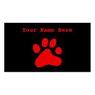Pata roja del perro plantilla de tarjeta de negocio