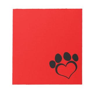 Pata roja y negra del corazón libreta para notas