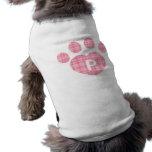 Pata rosada P de la tela escocesa Camiseta De Perrito
