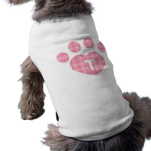 Pata rosada T de la tela escocesa Camisas De Mascota