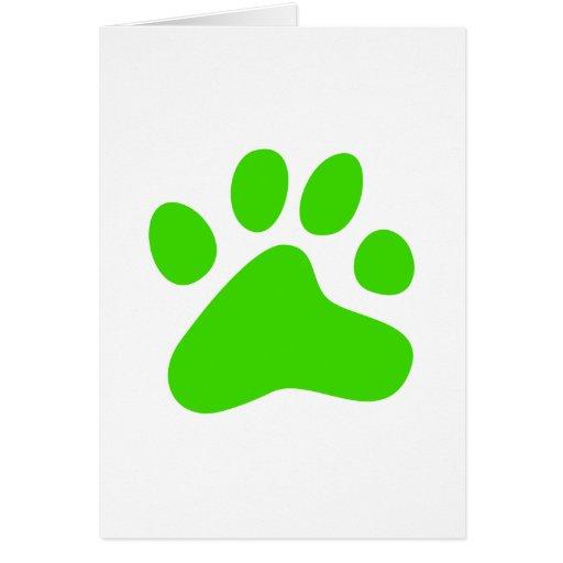 Pata verde del perro tarjeta