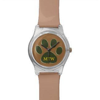 pata verde personalizada del perro reloj