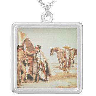 Patagonian Indians Square Pendant Necklace