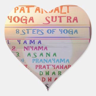PATANJALI Yoga Meditation Sutra List Heart Sticker