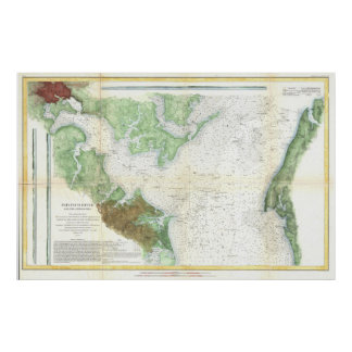 Patapsco River and Chesapeake Bay Map (1857) Poster