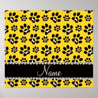 Patas amarillas conocidas personalizadas del perro póster