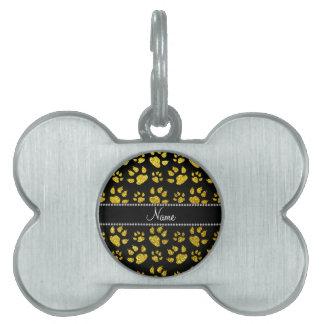 Patas amarillas de neón conocidas personalizadas d placa de mascota