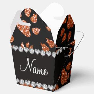 Patas anaranjadas quemadas nombre personalizadas cajas para regalos de fiestas