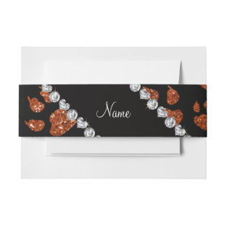 Patas anaranjadas quemadas nombre personalizadas decoración para invitaciones