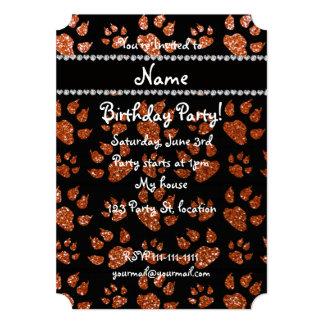 """Patas anaranjadas quemadas nombre personalizadas invitación 5"""" x 7"""""""