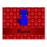 Patas azules conocidas de encargo del rojo del map tarjeta postal