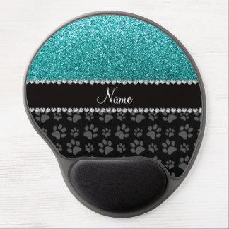 Patas azules conocidas personalizadas del negro de alfombrilla de ratón con gel