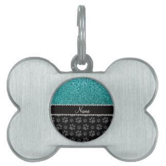 Patas azules conocidas personalizadas del negro de placa de nombre de mascota
