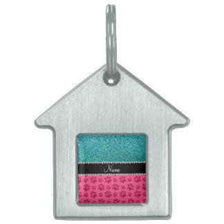 Patas azules conocidas personalizadas del rosa del placa mascota