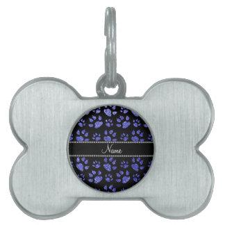 Patas azules de neón conocidas personalizadas del placas de mascota