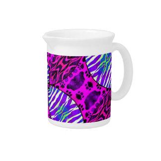 Patas azules púrpuras del gato de la cebra jarrones