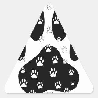 Patas blancas en la impresión negra de la pata pegatina triangular