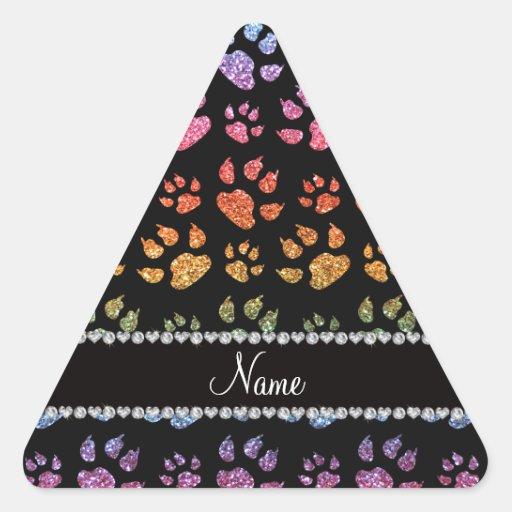 Patas brillantes conocidas personalizadas del gato pegatina triangular