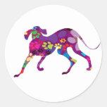 Patas coloreadas del perro pegatinas redondas