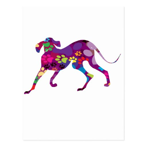 Patas coloreadas del perro tarjetas postales