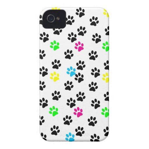 Patas coloridas al azar 001 del gato iPhone 4 Case-Mate funda