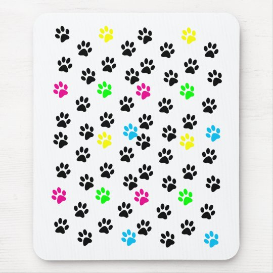 Patas coloridas al azar Mousepad del gato