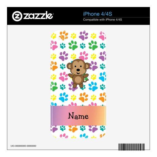 Patas conocidas personalizadas del arco iris del m iPhone 4S skins