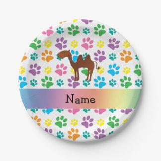 Patas conocidas personalizadas del arco iris del plato de papel de 7 pulgadas