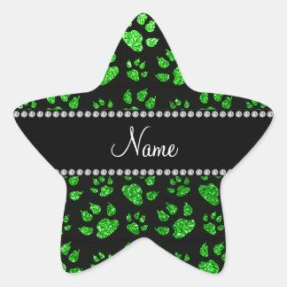 Patas conocidas personalizadas del gato del brillo pegatina en forma de estrella