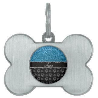 Patas conocidas personalizadas del negro del brill placas de nombre de mascota