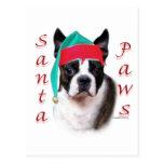 Patas de Boston Terrier Santa Tarjeta Postal