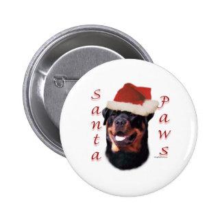 Patas de Rottweiler Santa Pin Redondo De 2 Pulgadas